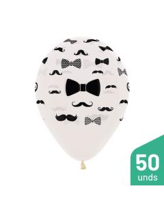 Paquete Globos Infinity Bigotes y Corbatas, Transparente Cristal R-12 por 50 Unidades
