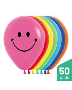 Paquete Globos Carita Feliz, Impreso, Surtido Fashion R-12 por 50 unidades