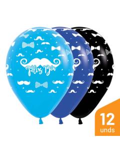 Globo Infinity Feliz Día Bigotes en Tonos Fashion R-12 por 12 Unidades