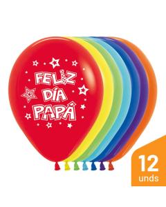 Globo Feliz Día Papá, Impreso, Surtido Fashion R-12 por 12 Unidades
