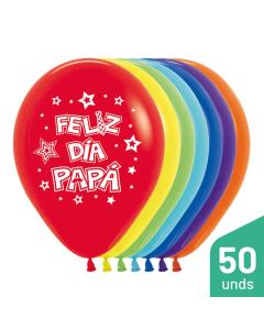 Paquete Globos Feliz Día Papá, Impreso, Surtido Fashion R-12 por 50 Unidades