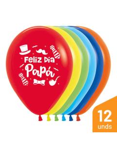 Globo Feliz Día Papá, Sombrero, Impreso, Surtido Fashion R-12 por 12 Unidades