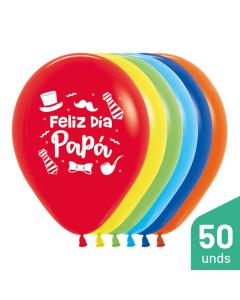 Paquete Globos Feliz Día Papá, Sombrero, Impreso, Surtido Fashion R-12 por 50 Unidades