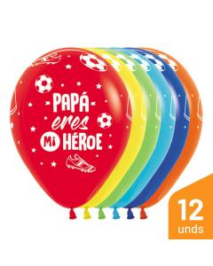Globo Papá Eres Mi Héroe, Infinity, Surtido Fashion R-12 por 12 Unidades
