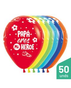 Paquete Globos Papá Eres Mi Héroe, Infinity, Surtido Fashion R-12 por 50 Unidades
